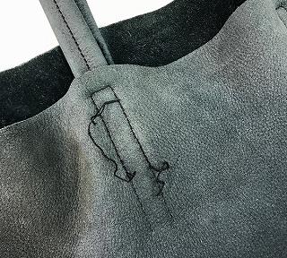 皮革製トートバッグハンドル付根ほつれの修理前写真
