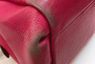 牛革ハンドバッグ底の角・本体・天の染色前の写真