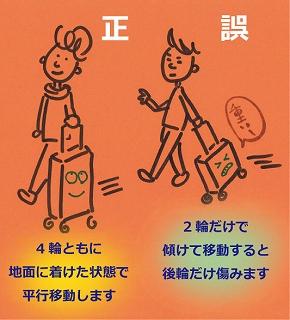正しい4輪のスーツケースの移動の仕方